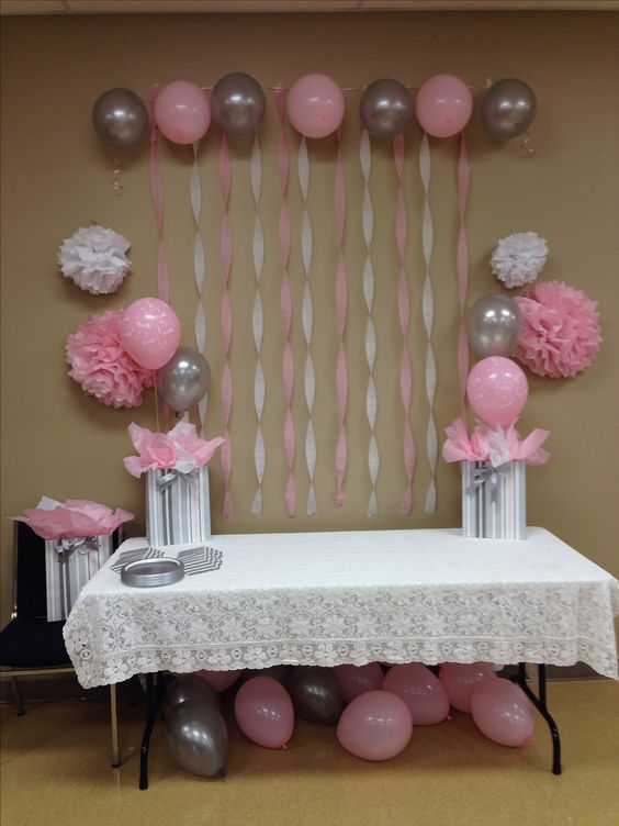 Light pink grey white baby shower baby shower ideas for Baby shower ceiling decoration ideas