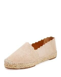 Scalloped Suede Espadrille Flat, Cream Puff, Women's, Size: 42.0B/12.0B, Ligh Tpnk - Chloe from Neiman Marcus at SHOP.COM