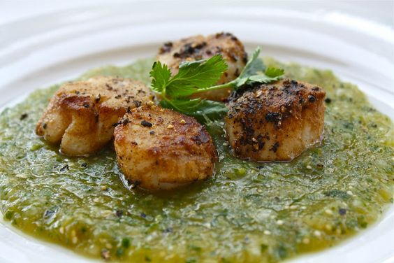 This looks so yummy!  Scallops with a tomatillo salsa.