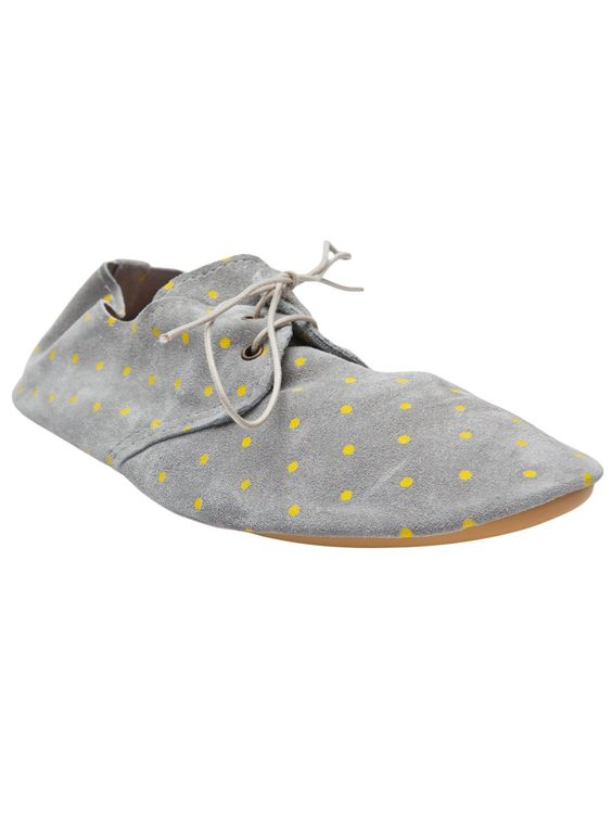 Lace-up flats in grey from Anniel. This suede shoe features a round closed toe, two-eye lace-up panel, allover neon polka dot print, and rubber sole.