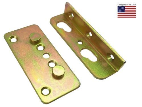 Premium No Mortise Bed Rail Brackets Fittings Complete Set Of 4