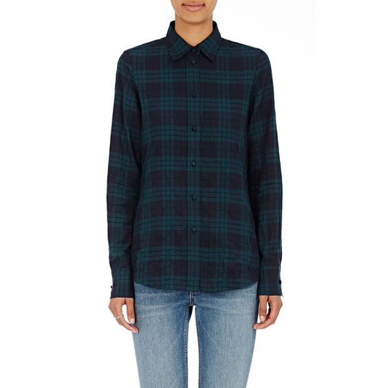 Harvey Faircloth Women's Side-Zip Plaid Shirt (8 710 UAH) ❤ liked on Polyvore featuring tops, green, spread collar shirt, zip top, side zipper shirt, green plaid shirt and tartan shirts