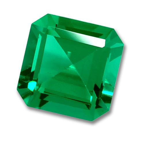 8x8mm Square Octagon Cut Gem Quality Chatham-Created Cultured Emerald 1.98-2.42 Ct.
