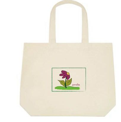 Canvas Tote Bag Flower Smiles by ArtByAnneManera on Etsy, $22.99