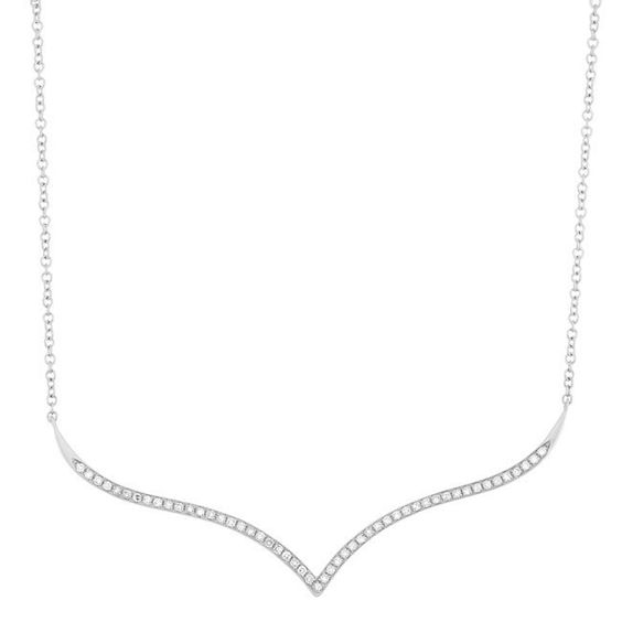 Sterling Silver 1/6ct Diamond Wave 18-inch Fashion Necklace