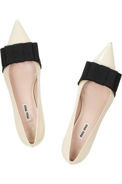 MIU MIU BOW EMBELISHED FLATS Heel measures approximately 15mm/ 0.5 inches Off-white patent-leather Black grosgrain bow, pointed toe Slip on
