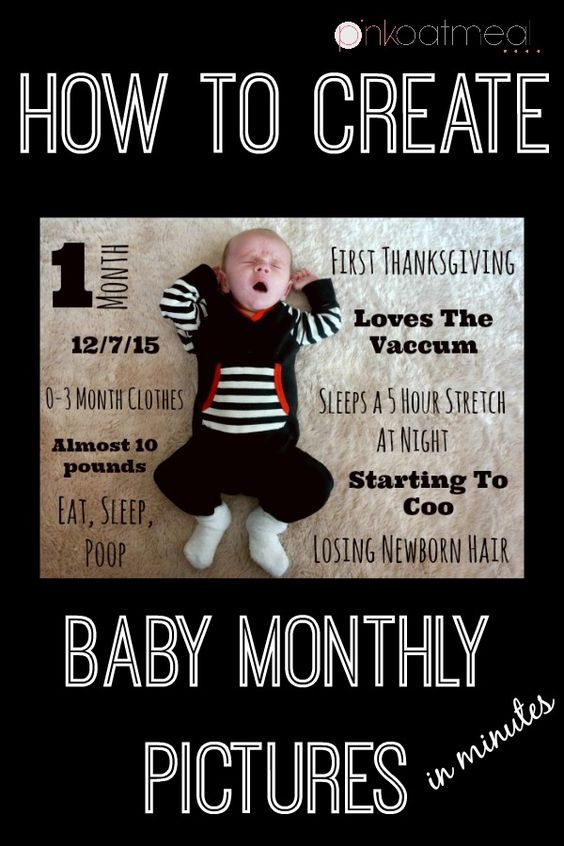 Baby Monthly Pictures. A easy way to remember monthly milestones for your baby boy or baby girl! I made mine in minutes! - Pink Oatmeal