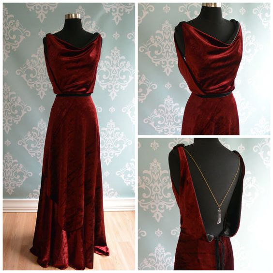 Backless Marsala Velvet Wedding Gown 1930 by FrenchKnotCouture