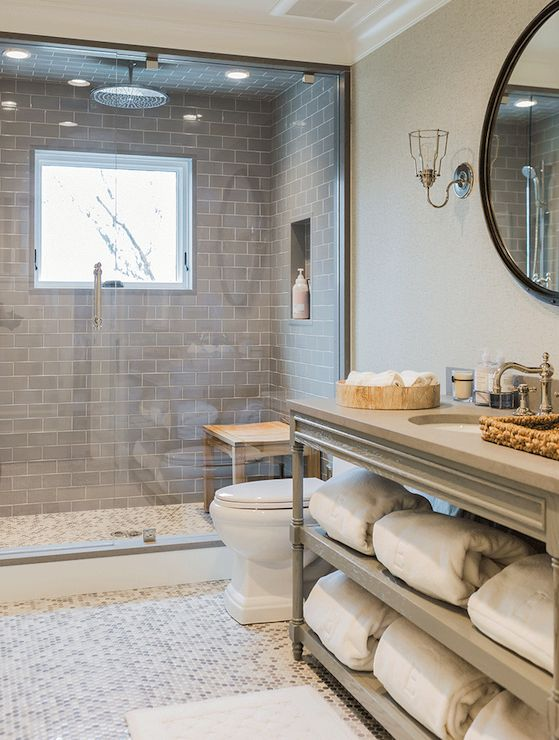 Transitional, bathroom, using 'Smoke' Grey glass Subway tile in shower. https://www.subwaytileoutlet.com/products/Smoke-Glass-Subway-Tile.html#.Va61XvlViko