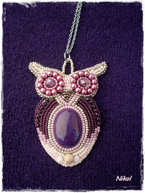 Beads owl and embroidery on pinterest
