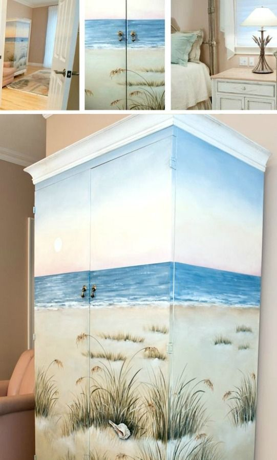 Beach scenes painted armoire and scene on pinterest for Beach scene bedroom ideas