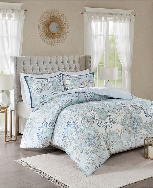 Jla Home Madison Park Isla King California King 3 Piece Cotton Printed Reversible Duvet Cover Set Blue Comforter Sets Duvet Cover Sets Reversible Duvet Covers