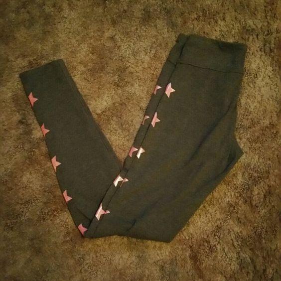 Yoga leggings- Live, Love, Dream collection Dark grey. Orange stars going down outside leg of each Great condition Aeropostale Pants Leggings