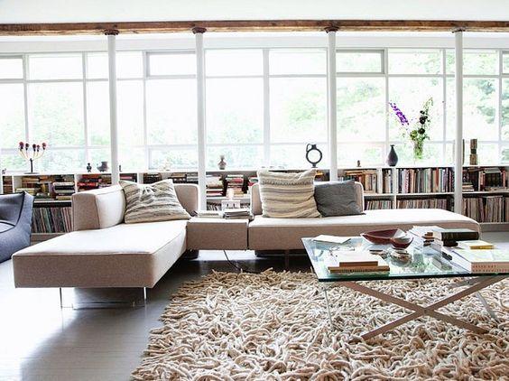 I love the bookshelves along the windows in this room.