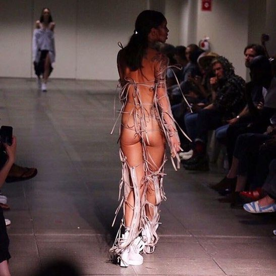NYFW SS16: Hood By Air  A NSFW kind of NYFW goes to @hoodbyair , with a modest suit at the front but one hell of a party look at the back. #NYFW #HBA #HoodByAir #TheListMY #TheListOfficial