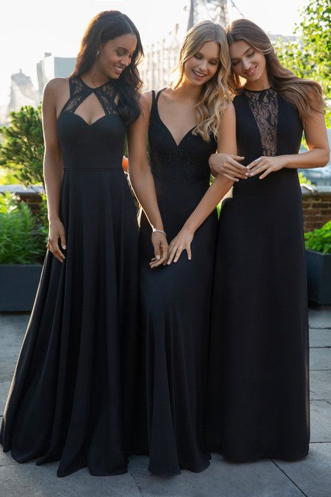 Style 5867 Hayley Paige Occasions Bridesmaids Dress Black Chiffon Modified A Line Bridesmaids Gown S Black Bridesmaid Dresses Bridesmaid Dresses Bridesmaid