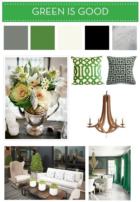 Green, black, white, silver