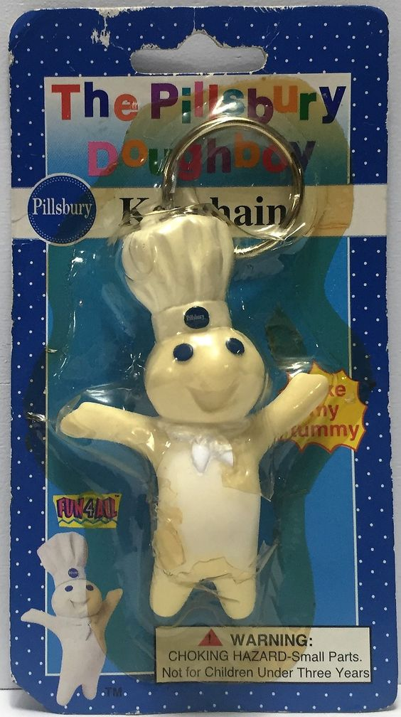 """(TAS034712) - 1996 Fun 4 All The Pillsbury Doughboy Keychain """"Poke My Tummy"""""""