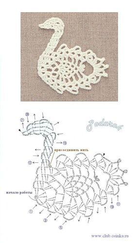 Swan. Lot's more motifs at this site   patrones   Pinterest   Croché