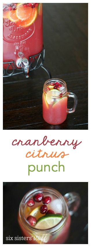 Cranberry Citrus Punch from SixSistersStuff.com. This is perfect for parties!