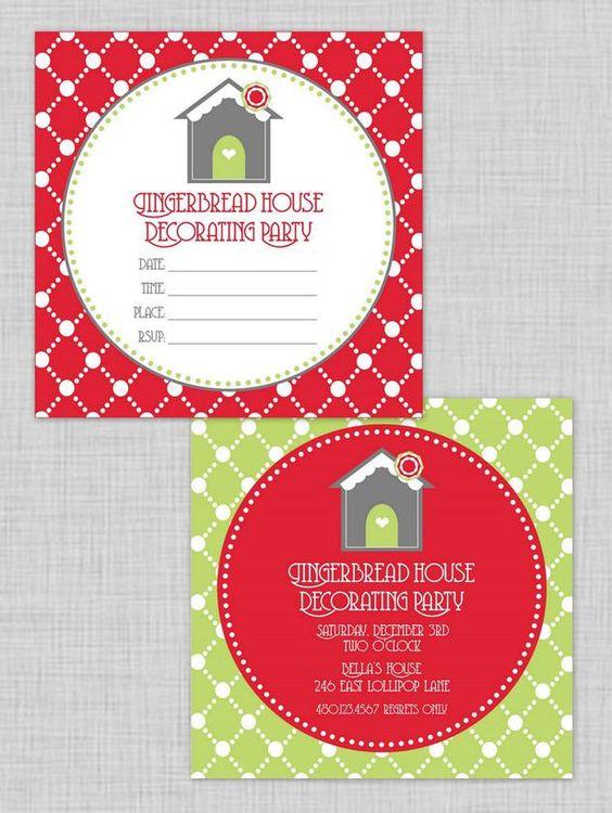 Host a kid friendly gingerbread house decorating party Gingerbread house decorating party invitations