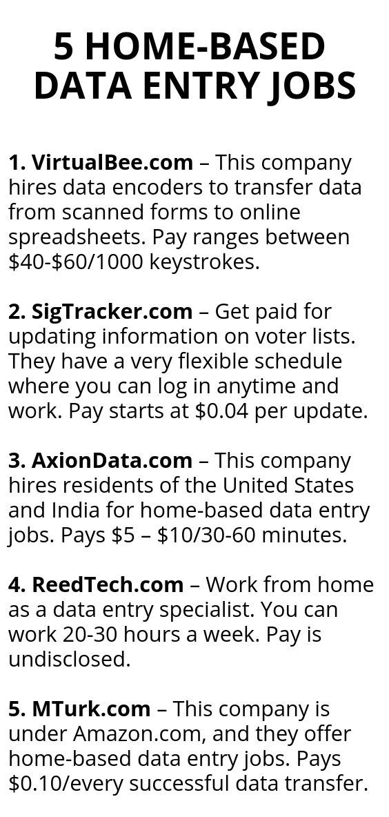5 Home Based Data Entry Jobs In 2020 Data Entry Jobs Legit Work From Home How To Get Money