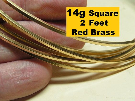 2ft 14g Square Red Brass DS wire 2 feet by JustWire on Etsy, $3.89