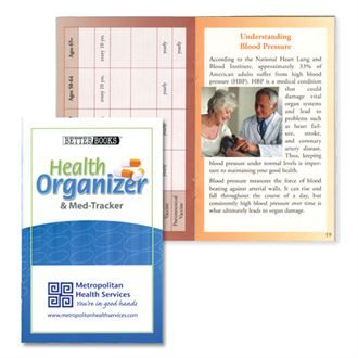 Health Organizer and Med Tracker is a 36 page full color booklet filled with valuable information. Keep track of your medications, dosage and schedules as well as other important medical information in this full-size book.