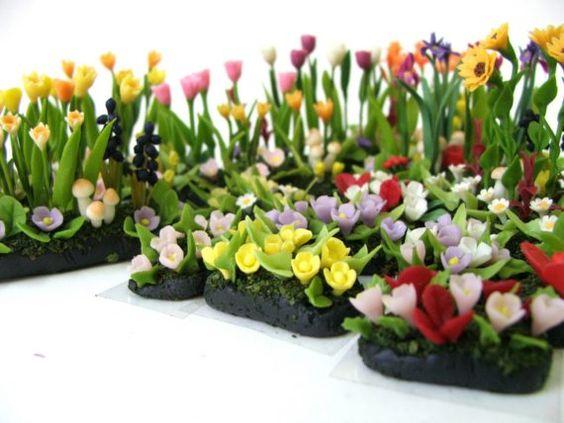 Miniature Garden Polymer Clay Flowers Supplies by Mycraftgarden, $12.50