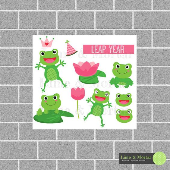 Leap Year Frog Planner Stickers by LimeandMortar on Etsy