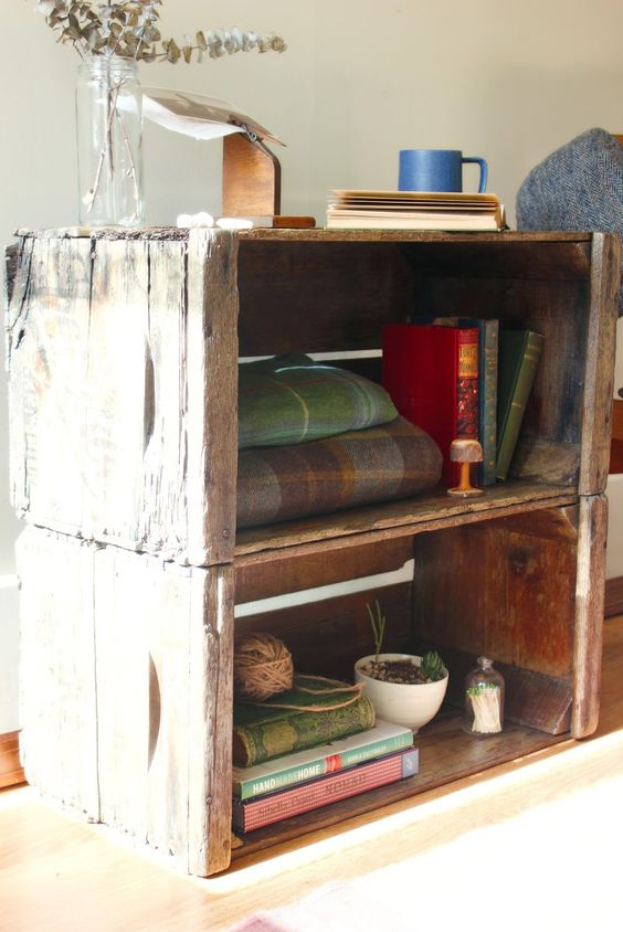 Fletcher Finds & Designs: Wood Crates as Shelving