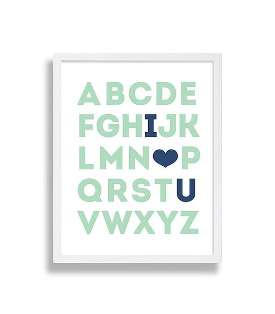 Alphabet I Love You Nursery Print    Take a look at over a hundred more nursery prints in our nursery decor shop. Nursery art makes for great