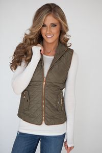 Faux Fur Lined Quilted Vest - Olive/Gold