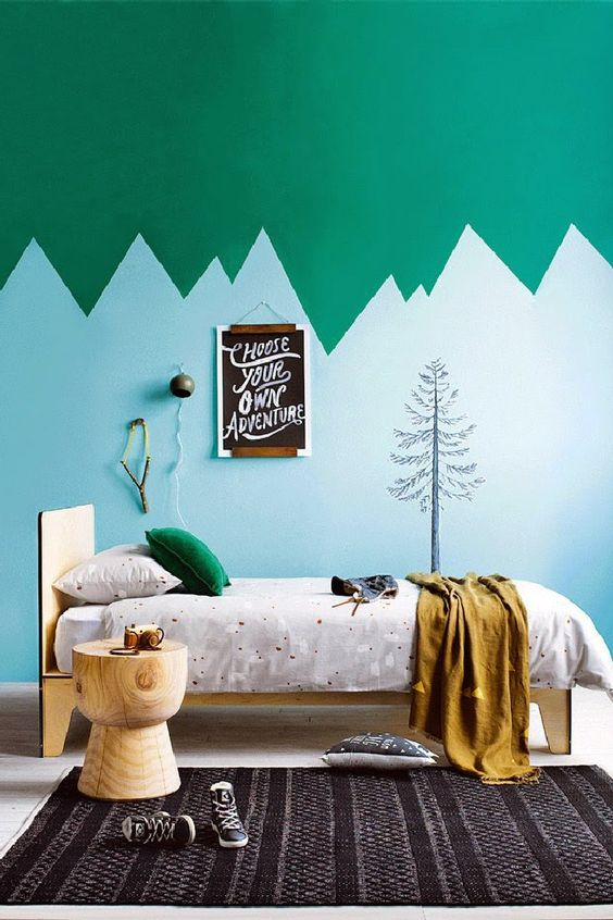 Green and Blue kid's room | 15 COLORFUL CHILDREN'S ROOM IDEAS - see more at http://delightfull.eu/blog/2015/12/01/colorful-childrens-room-ideas/