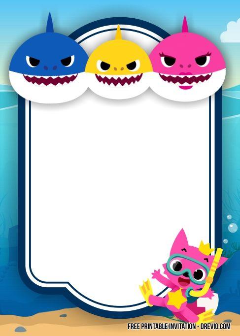 Free Printable Baby Shark Invitation Templates Free Printable Free Printable Baby Shower Invitations Shark Birthday Invitations Birthday Invitation Templates