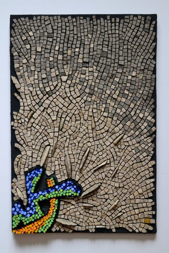 """""""Punctuated Equilibrium II"""" #mosaic by Julie Sperling (2014, 18"""" x 12"""", glass rods, local stone, skateboard)"""