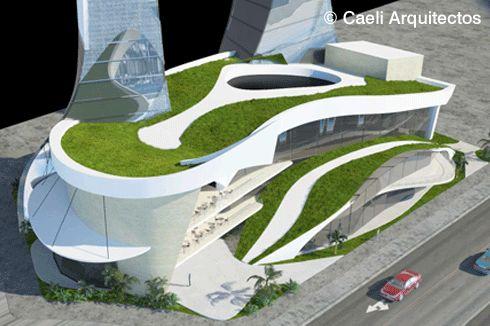 Proyecto: Caeli Arquitectos - Proyecto arquitectónico de complejo comercial y de oficinas. Avenida Insurgentes Sur, México D.F.
