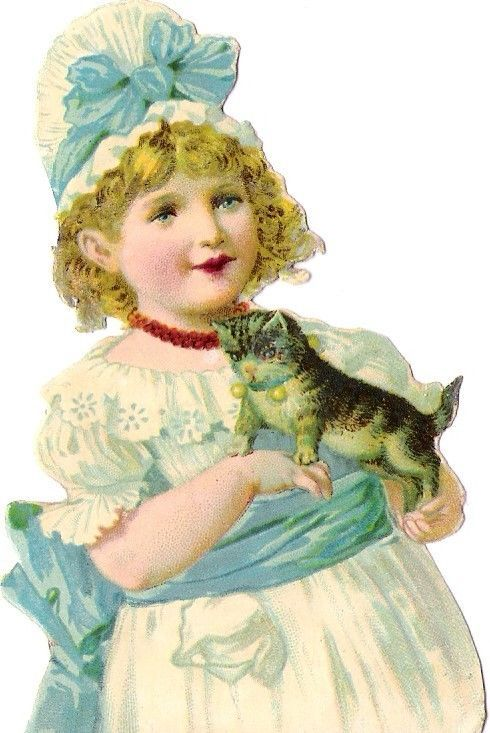 Oblaten Glanzbild scrap die cut chromo Kind  10cm  girl child Katze cat kitten: