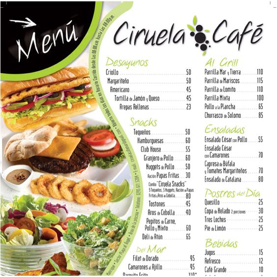 Men ciruela cafe isla de megarita food porn for Menu comida