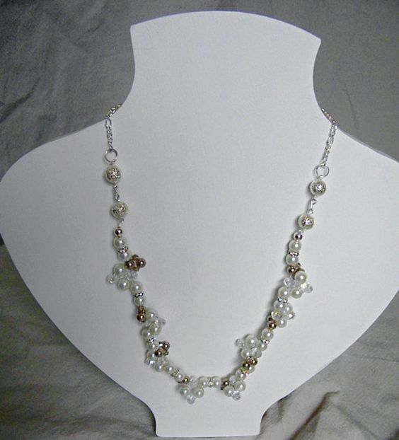 Handbeaded Taupe and Ivory Pearl Crystal by SterlingGurlDesigns #statementnecklace