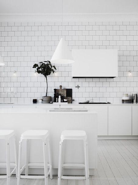 White on White! Splash back tiles!! Hello