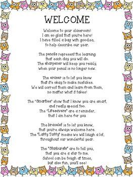 math worksheet : freebie! wel e back owl poem for back to school goodie bag  : Kindergarten Back To School Poems For Parents