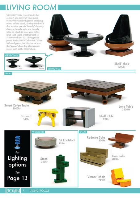 Next up we have one of my favourite pages from the entire catalogue - solely for the Shell chairs and Jalkow tables (so named because they would fit well with the Jalkow stool). I'm really proud of those. Next up: bathroom! ~John