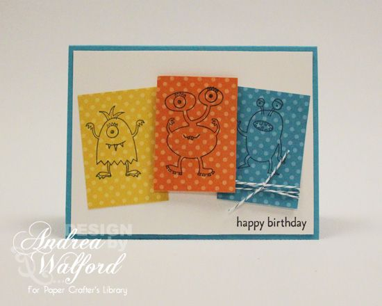Make A Monster Birthday Stampin' Up Card by Andrea Walford
