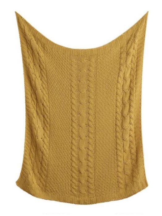 Fall Dorm Decor Mustard Yellow Throw Blanket Knitted Throws Cable Knit Throw Cable Knit Throw Blanket