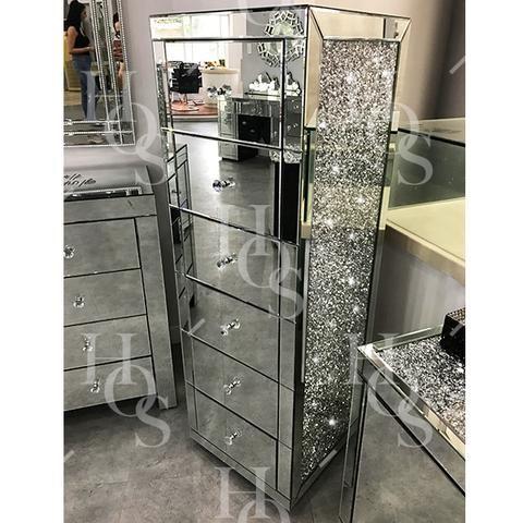 Diamond Crush Side 6 Drawer Tallboy Mirrored Furniture Sparkle
