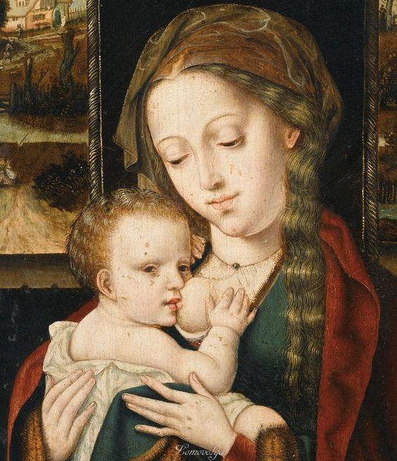 Entourage de Pieter Coecke van Aelst AELST 1502 - 1550 BRUXELLES VIERGE À L'ENFANT CIRCLE OF PIETER COECKE VAN AELST ; VIRGIN AND CHILD ; OIL ON PANEL