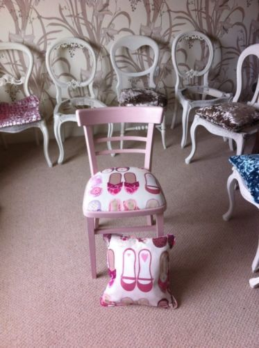 Girls-Pink-Chair-in-Harlequin-Twinkle-Toes-Fabric-with-Matching-Cushion