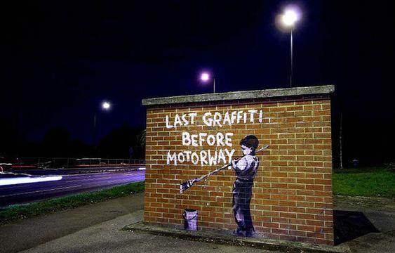 Banksy Graffiti Drawings - Night shot