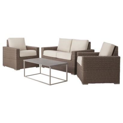 Heatherstone 4 Piece Wicker Patio Conversation Furniture